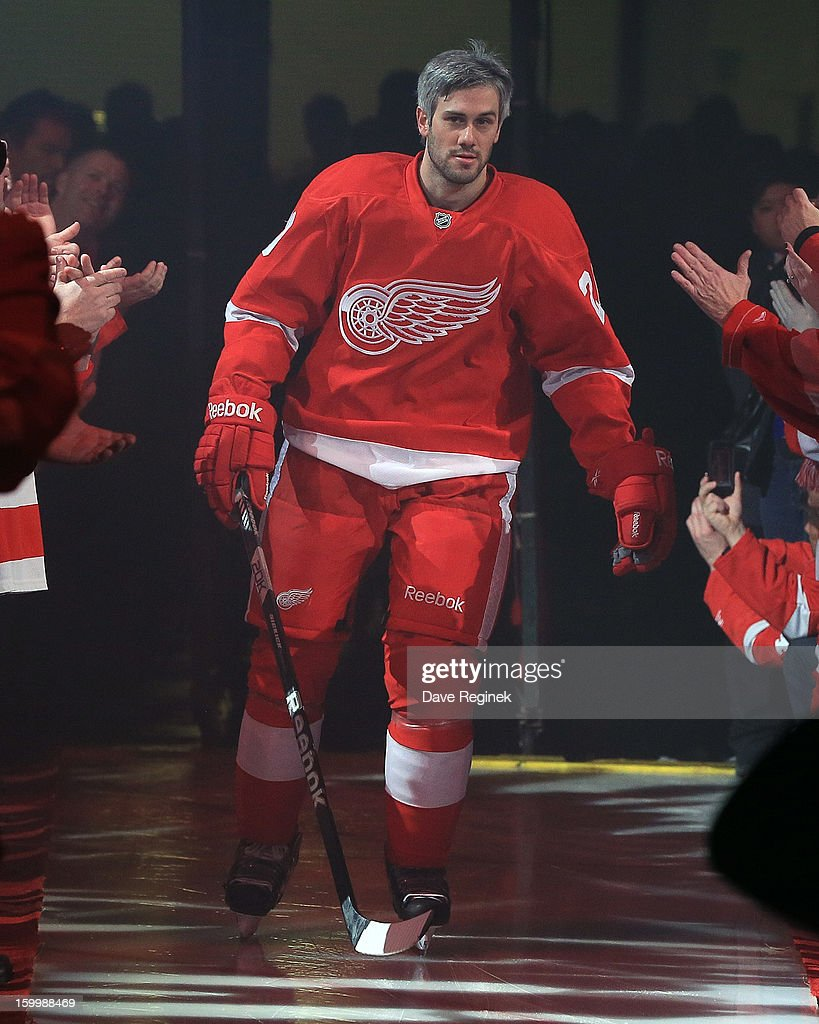 Drew Miller #20 of the Detroit Red Wings is introduced in pre-game ceramonies before an NHL game against the Dallas Stars at Joe Louis Arena on January 22, 2013 in Detroit, Michigan. Dallas won 2-1
