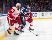 Drew Miller of the Detroit Red Wings skates against the Tampa Bay Lightning at the Tampa Bay Times Forum on February 8 2014 in Tampa Florida
