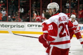 Drew Miller of the Detroit Red Wings warms up prior to his game against the Philadelphia Flyers on January 28 2014 at the Wells Fargo Center in...