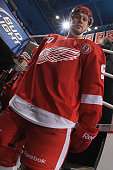 Drew Miller of the Detroit Red Wings wears jersey in honor of Gordie Howe on his 85th birthday during warm ups before a NHL game against the Chicago...