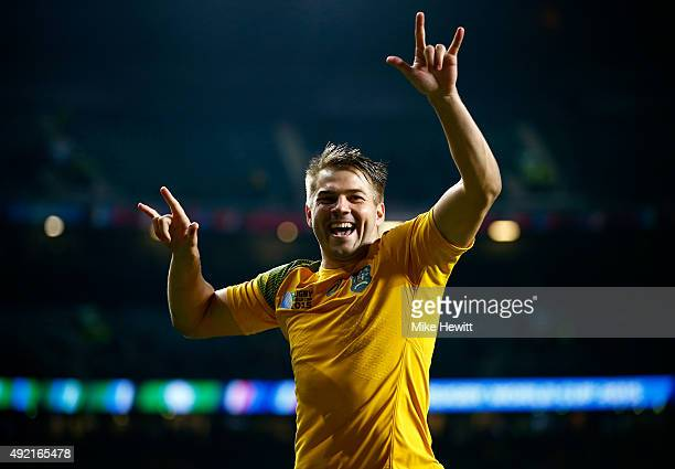 Drew Mitchell of Australia celebrates victory after the 2015 Rugby World Cup Pool A match between Australia and Wales at Twickenham Stadium on...