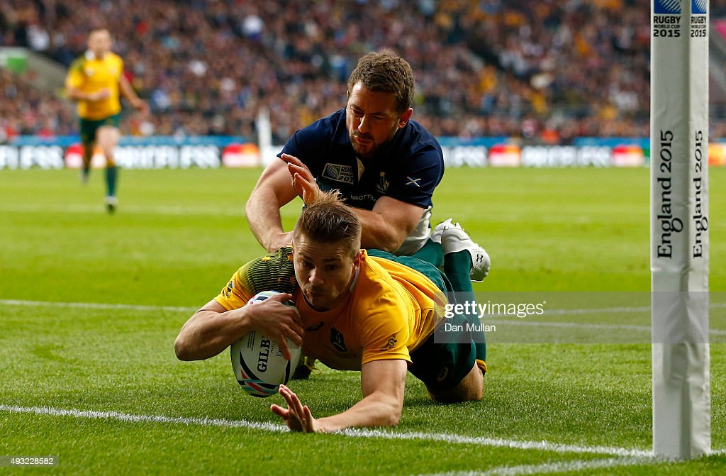Drew Mitchell of Australia scores his teams fourth try during the 2015 Rugby World Cup Quarter Final match between Australia and Scotland at...