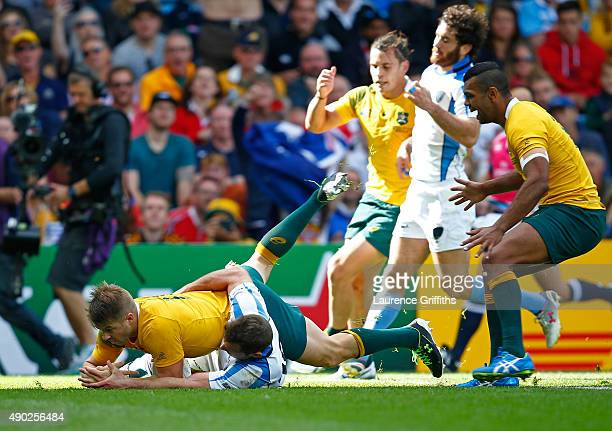 Drew Mitchell of Australia scores their sixth try during the 2015 Rugby World Cup Pool A match between Australia and Uruguay at Villa Park on...
