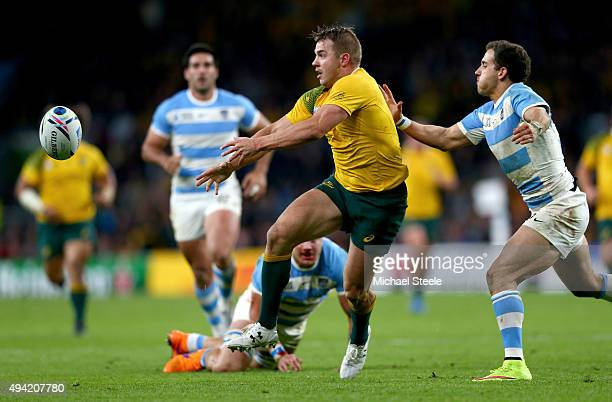 Drew Mitchell of Australia sets up Adam AshleyCooper to score Australia's 4th try of the game during the 2015 Rugby World Cup Semi Final match...