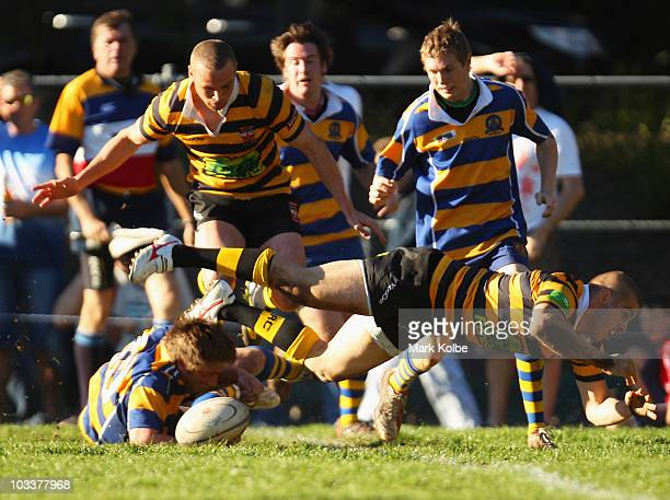 Drew Mitchell of Balmain falls over the ball during the round 17 third division NSW Suburban Rugby Union match between Balmain and Epping at...