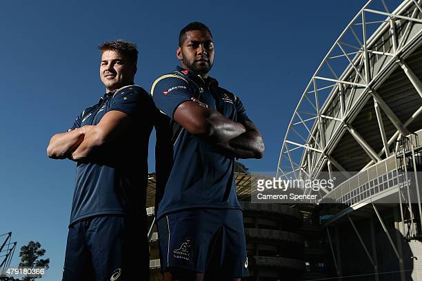 Drew Mitchell of the Wallabies and Taqele Naiyaravoro of the Wallabies poses during the Australian Wallabies squad announcemnt at ANZ Stadium on July...