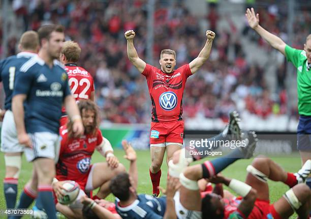 Drew Mitchell of Toulon celebrates their victory during the Heineken Cup semi final match between Toulon and Munster at the Stade Velodrome on April...