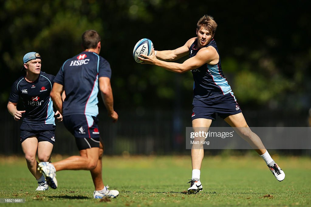 Drew Mitchell takes a pass during a Waratahs Super Rugby training session at Moore Park on April 2, 2013 in Sydney, Australia.
