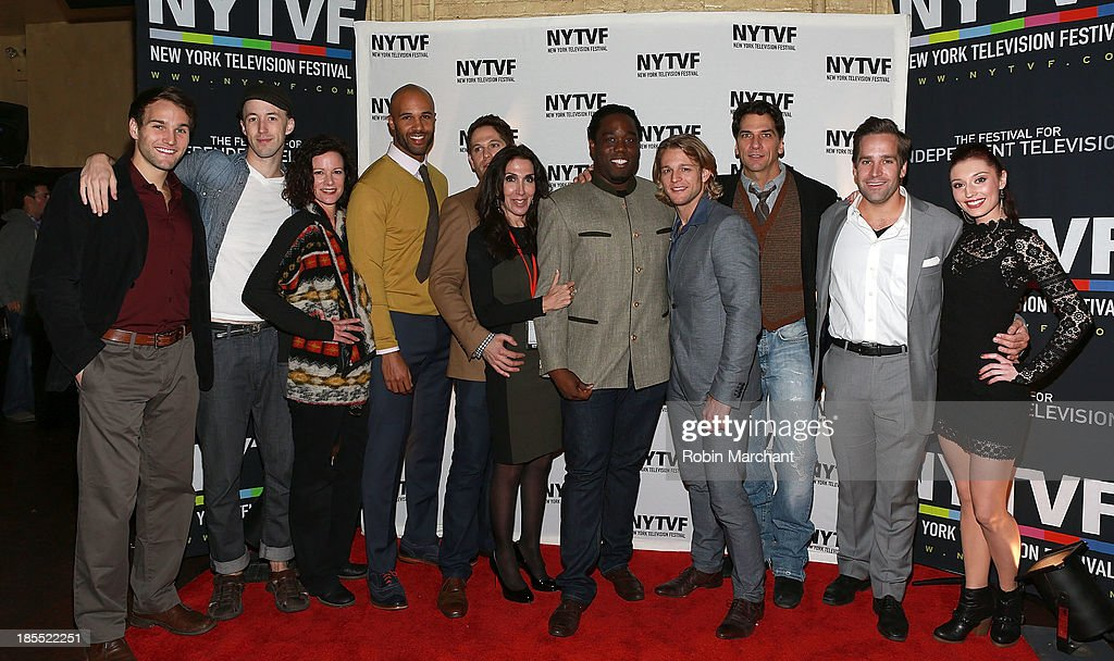 Drew Moerlein, James Patrick Nelson, Kate Hodge, Mark Tallman, Nick Mathews, Quincy Morris, Jennifer Gelfer, Chase Coleman, Michael Sharon, Tyler Hollinger and Danielle Guldin attend 'In Between Men' Series Screening - 9th Annual New York Television Festival at Tribeca Cinemas on October 21, 2013 in New York City.