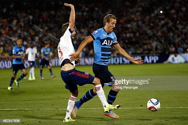Drew Moor of MLS AllStars and Harry Kane of Tottenham Hotspur battle for control of the ball during the 2015 ATT Major League Soccer AllStar game at...
