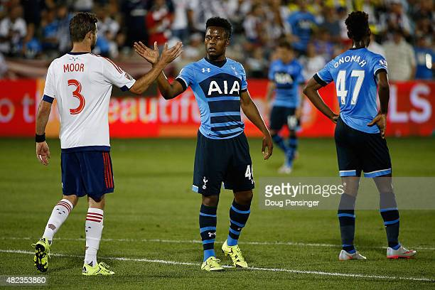 Drew Moor of MLS AllStars and Shaq Coulthirst of Tottenham Hotspur congratulate one another after the 2015 ATT Major League Soccer AllStar game at...