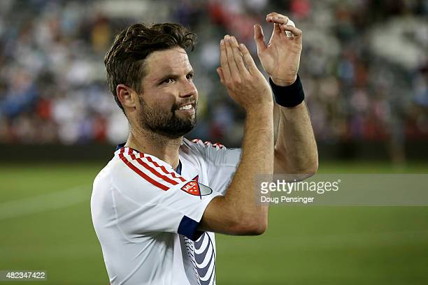 Drew Moor of MLS AllStars applauds his supports after defeating the Tottenham Hotspur in the 2015 ATT Major League Soccer AllStar game at Dick's...
