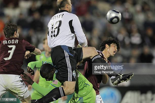 Drew Moor of the Colorado Rapids O'Brian White of the Seattle Sounders FC goalkeeper Kasey Keller of the Seattle Sounders FC and Kosuke Kimura of the...