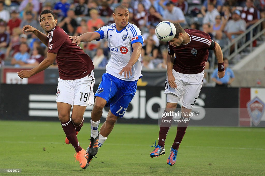 Drew Moor of the Colorado Rapids scores on a head ball in the 39th minute against the Montreal Impact at Dick's Sporting Goods Park on May 26 2012 in...