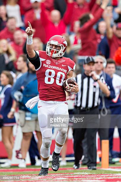 Drew Morgan of the Arkansas Razorbacks after catching a touchdown pass against the Auburn Tigers at Razorback Stadium Stadium on October 24 2015 in...