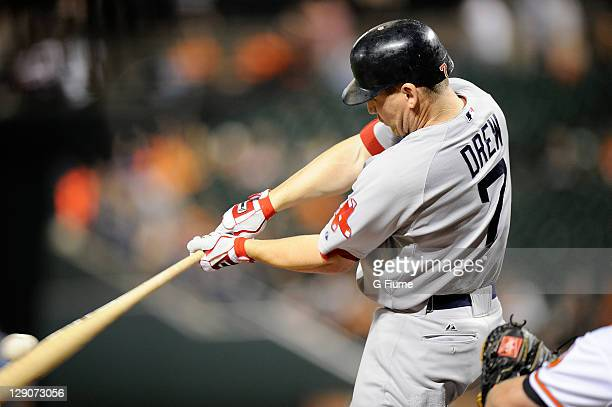 D Drew of the Boston Red Sox bats against the Baltimore Orioles at Oriole Park at Camden Yards on September 28 2011 in Baltimore Maryland