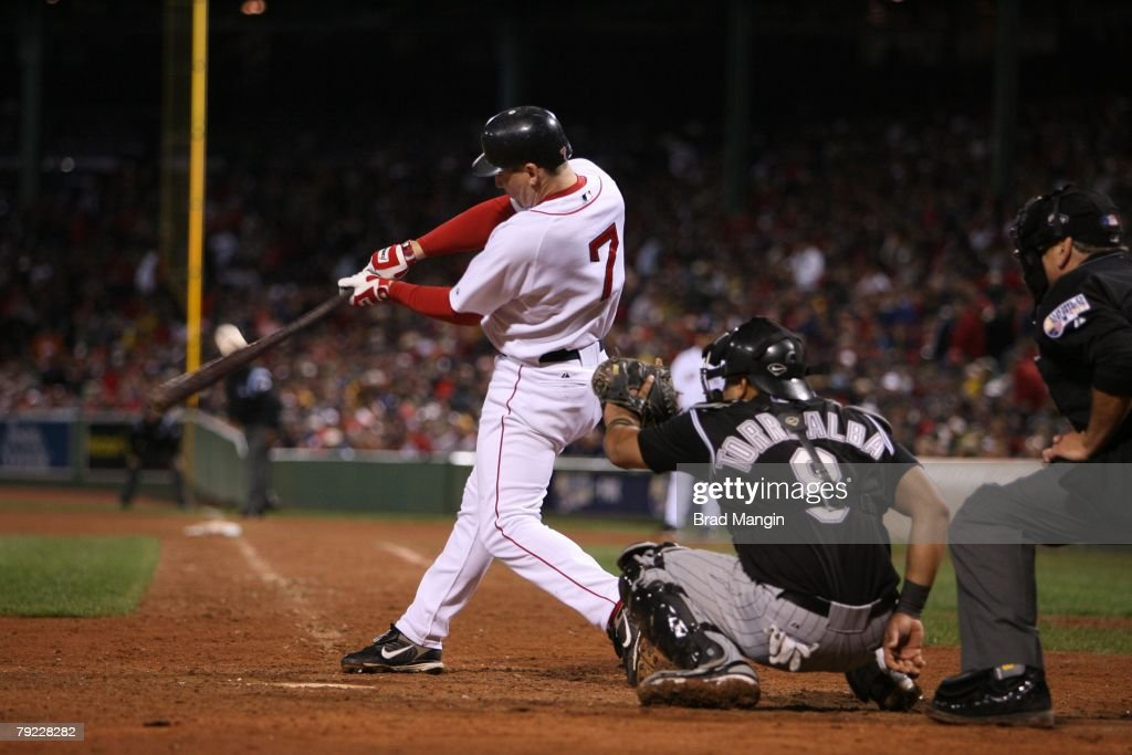 J.D. Drew of the Boston Red Sox bats during game one of the World Series against the Colorado Rockies at Fenway Park in Boston, Massachusetts on October 24, 2007. The Red Sox defeated the Rockies 13-1.