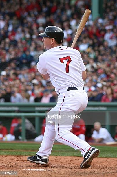 D Drew of the Boston Red Sox hits a two run home run to score Mike Lowell in the fourth inning of Game Three of the ALDS against the Los Angeles...