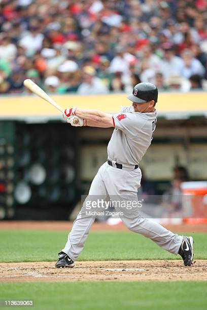 D Drew of the Boston Red Sox hitting during the game against the Oakland Athletics at the OaklandAlameda County Coliseum on April 20 2010 in Oakland...