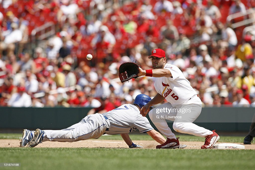 J.D. Drew of the Dodgers slides back into first base as Albert Pujols takes the throw during action between the Los Angeles Dodgers and St. Louis Cardinals at Busch Stadium in St. Louis, Missouri on July 15, 2006. The Cardinals won 2-1 in 10 innings.