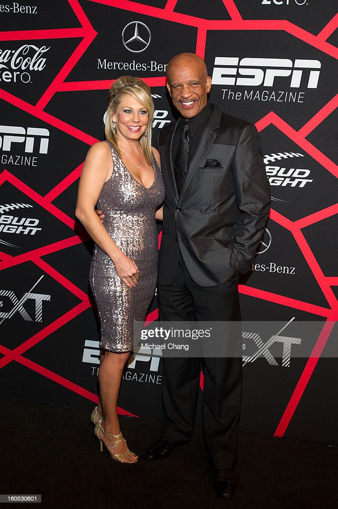 <a gi-track='captionPersonalityLinkClicked' href=/galleries/search?phrase=Drew+Pearson&family=editorial&specificpeople=226652 ng-click='$event.stopPropagation()'>Drew Pearson</a> and guest attends ESPN The Magazine's 'Next' Event at Tad Gormley Stadium on February 1, 2013 in New Orleans, Louisiana.