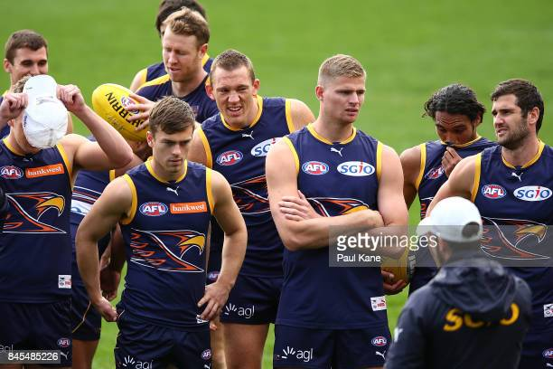 Drew Petrie looks on during a West Coast Eagles AFL training session at Domain Stadium on September 11 2017 in Perth Australia