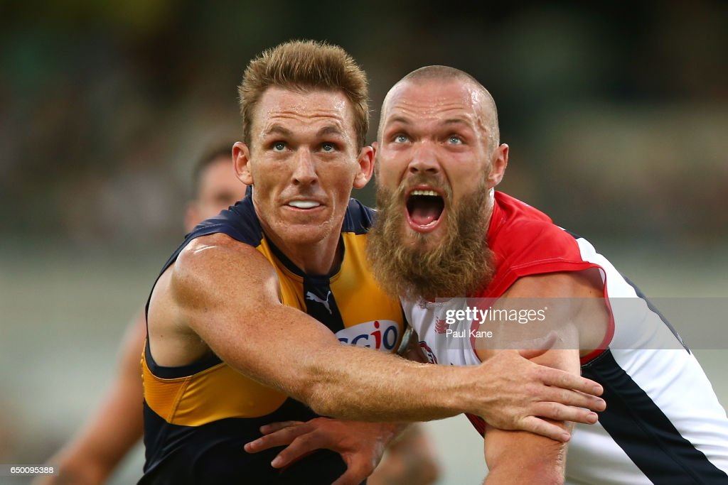 Drew Petrie of the Eagles and Max Gawn of the Demons contest a boundary throw in during the JLT Community Series AFL match between the West Coast Eagles and the Melbourne Demons at Domain Stadium on March 9, 2017 in Perth, Australia.