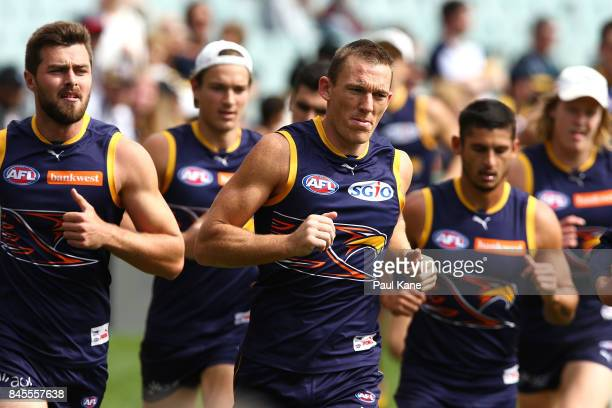 Drew Petrie of the Eagles jogs laps during a West Coast Eagles AFL training session at Domain Stadium on September 11 2017 in Perth Australia