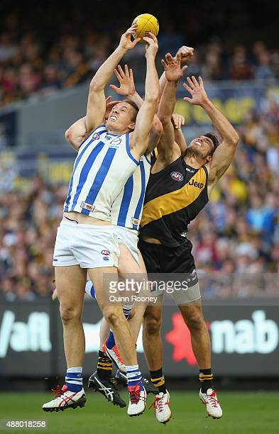 Drew Petrie of the Kangaroos marks during the First AFL Elimination Final match between the Richmond Tigers and the North Melbourne Kangaroos at...