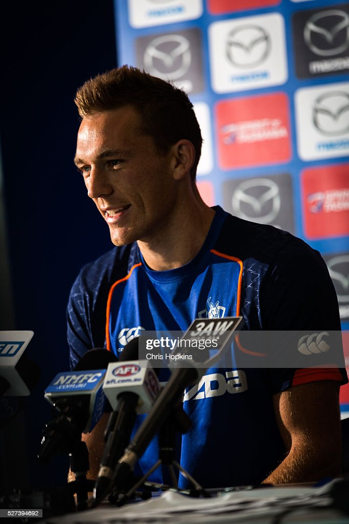 Drew Petrie speaks to the media during a North Melbourne Kangaroos AFL media session at Arden Street Ground on May 3, 2016 in Melbourne, Australia.