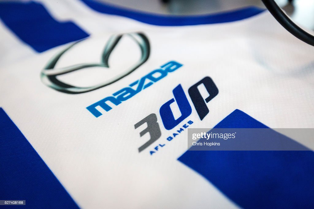Drew Petries commemorative jumper for his 300 game during a North Melbourne Kangaroos AFL media session at Arden Street Ground on May 3, 2016 in Melbourne, Australia.