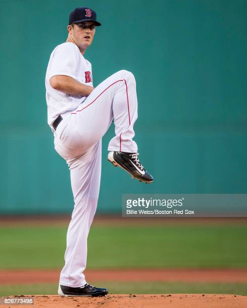 Drew Pomeranz of the Boston Red Sox delivers during the first inning of a game against the Chicago White Sox on August 5 2017 at Fenway Park in...