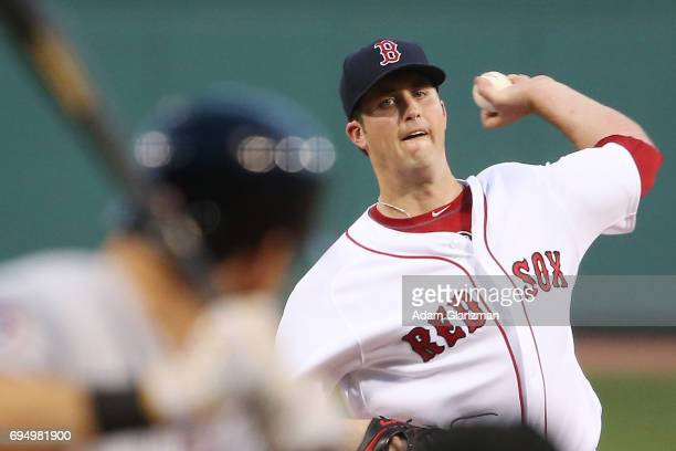 Drew Pomeranz of the Boston Red Sox delivers in the first inning of a game against the Detroit Tigers at Fenway Park on June 11 2017 in Boston...