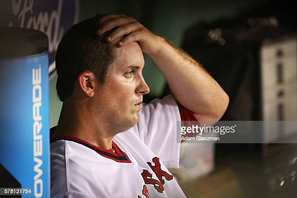 Drew Pomeranz of the Boston Red Sox looks on from the dugout after being pulled from the game in the fourth inning during the game against the San...