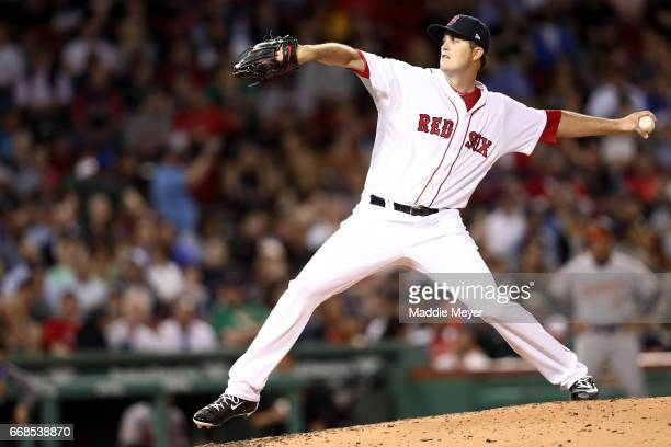 Drew Pomeranz of the Boston Red Sox pitches against the Baltimore Orioles during the fourth inning at Fenway Park on April 11 2017 in Boston...