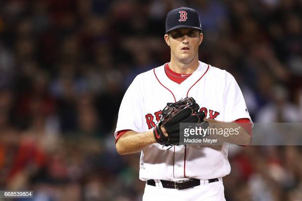 Drew Pomeranz of the Boston Red Sox pitches against the Baltimore Orioles during the sixth inning at Fenway Park on April 11 2017 in Boston...