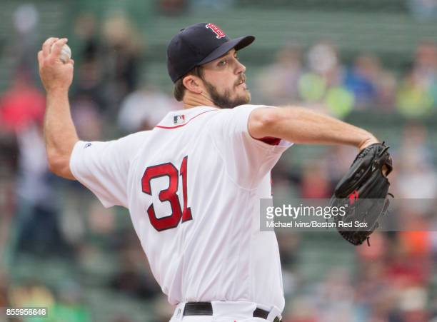 Drew Pomeranz of the Boston Red Sox pitches against the Houston Astros in the first inning at Fenway Park on September 30 2017 in Boston Massachusetts