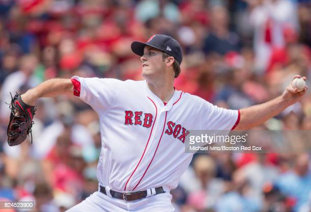 Drew Pomeranz of the Boston Red Sox pitches against the Kansas City Royals in the first inning on July 30 2017 in Boston Massachusetts