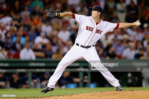 Drew Pomeranz of the Boston Red Sox pitches against the Tampa Bay Rays during the third inning at Fenway Park on August 30 2016 in Boston...