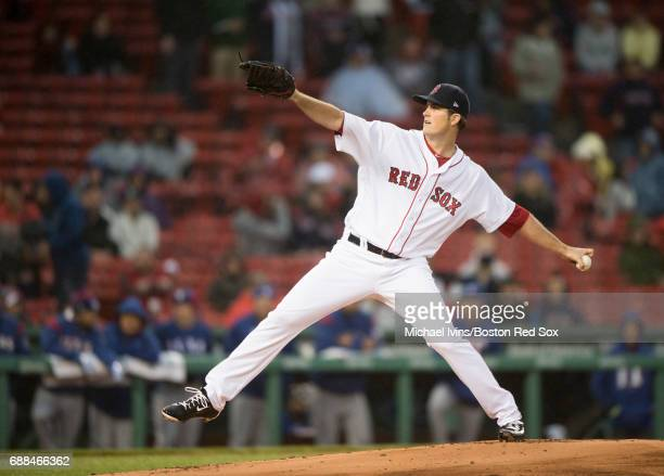 Drew Pomeranz of the Boston Red Sox pitches against the Texas Rangers in the first inning at Fenway Park on May 25 2017 in Boston Massachusetts