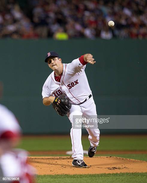 Drew Pomeranz of the Boston Red Sox pitches during the first inning against the New York Yankees at Fenway Park on September 18 2016 in Boston...