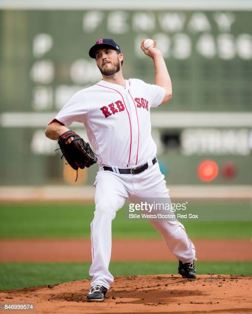 Drew Pomeranz of the Boston Red Sox pitches during the first inning of a game against the Oakland Athletics on September 14 2017 at Fenway Park in...
