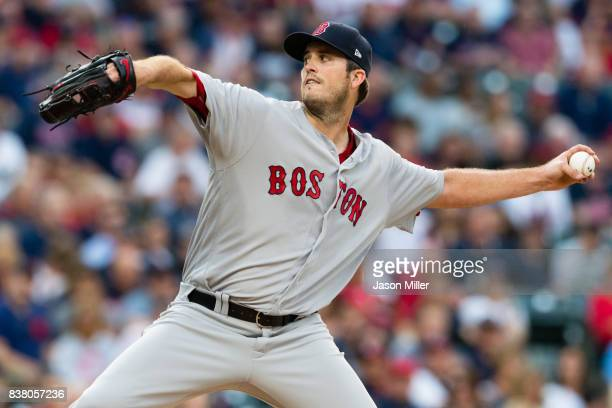 Drew Pomeranz of the Boston Red Sox pitches during the second inning against the Cleveland Indians during the first inning at Progressive Field on...