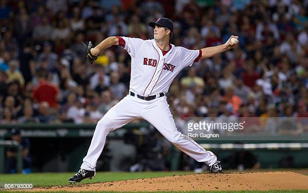 Drew Pomeranz of the Boston Red Sox pitches during the third inning against the New York Yankees at Fenway Park on September 18 2016 in Boston...