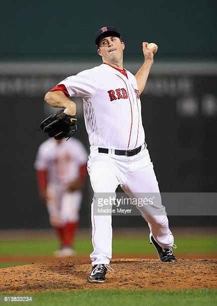 Drew Pomeranz of the Boston Red Sox throws a pitch in the fifth inning against the Cleveland Indians during game three of the American League Divison...