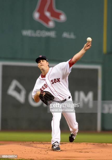 Drew Pomeranz of the Boston Red Sox throws a pitch in the first inning against the Texas Rangers at Fenway Park on May 25 2017 in Boston Massachusetts