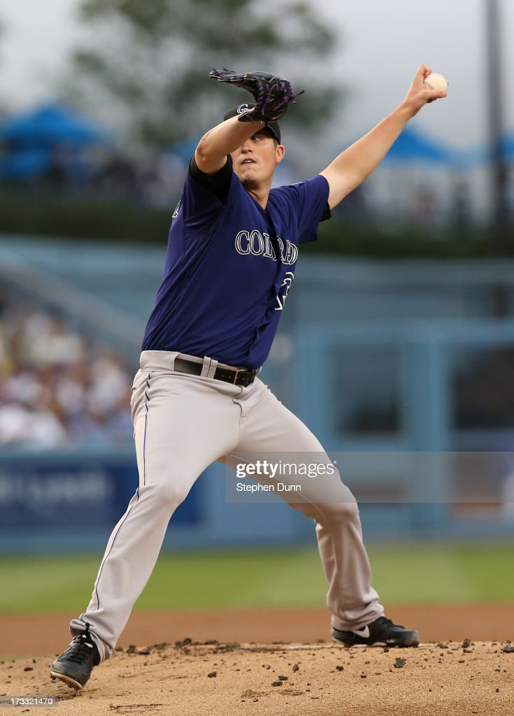 <a gi-track='captionPersonalityLinkClicked' href=/galleries/search?phrase=Drew+Pomeranz&family=editorial&specificpeople=7513241 ng-click='$event.stopPropagation()'>Drew Pomeranz</a> #13 of the Colorado Rockies throws a pitch against the Los Angeles Dodgers at Dodger Stadium on July 11, 2013 in Los Angeles, California.