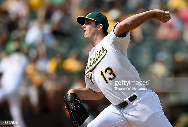 Drew Pomeranz of the Oakland Athletics pitches against the Houston Astros in the top of the eighth inning at Oco Coliseum on August 8 2015 in Oakland...