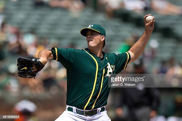 Drew Pomeranz of the Oakland Athletics pitches against the Toronto Blue Jays during the second inning at Oco Coliseum on July 23 2015 in Oakland...