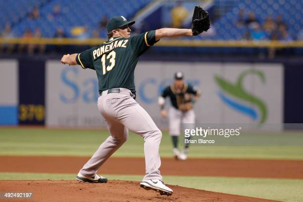 Drew Pomeranz of the Oakland Athletics pitches during the first inning of a game on May 20 2014 at Tropicana Field in St Petersburg Florida